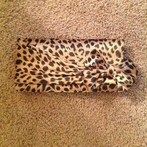 "Handbags - Satin Leopard Print Clutch 9""x4.5"""
